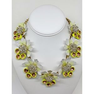 J. Crew Yellow Brulee Crystal Flower Necklace